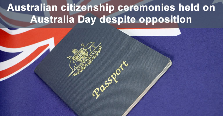 Australian citizenship passport and flag